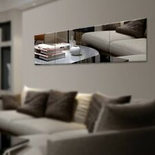 16/32/48pc Mirror Tile Wall Sticker Square Self Adhesive Decor Stick On Art Home