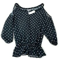 New York And Company NYC Sweet Pea Black/White Polka Dot Blouse Size Small