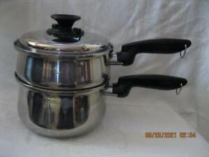 Vintage Permanent Multi Core 5-Ply 1 1/2 & 2 Qt Stainless Steel Pot & Vented Lid