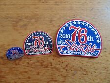 2016 Sturgis Rally pin patch & sticker set lot official MOTORCYCLE BIKER 76th