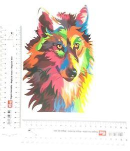Wolf 🐺 Bügelbild Kopf Applikation Patch Bunt Aufbügler Fashion DIY