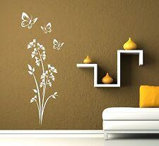 Wandtattoo, Blume mit 3 Schmetterlingen