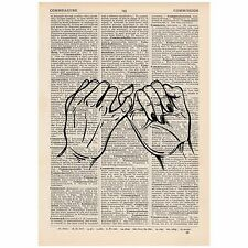 Pinky Promise Dictionary Word Art Print OOAK, Quirky, Alternative