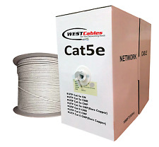 Cat5e Cable 1000ft Bare Copper UL Networking 350mhz CMP rated Wire - Gray