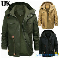 Mens Quilted Military Jacket Fur Lined Thicken Winter Hooded Coats Outwear Parka