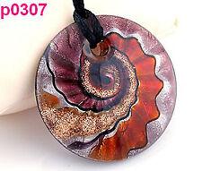 HANDMADE Baroque screw thread art glass round beaded pendant cord necklace p307
