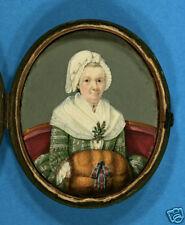'Dame mit Muff' sehr feine Miniatur im Originaletui mit Spiegel um 1790/1800