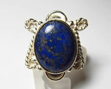 Appealing Genuine Lapis Lazuli Silver Plated Ring Size 8.75       LAPR63