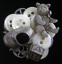 Baby Theme Brooch Shoe Block Teddy Bear Vintage Buttons