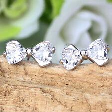 1 Pair Elegant Cute Bow Plated silver Rhinestone Ear Stud Earrings Jewelry