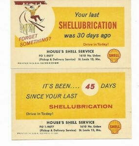 2 House's Shell Gasoline Service Station,St.Louis,MO.,Postcards (Circa 1959)