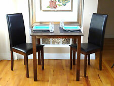 3 Pc Dining Room Kitchen Set Square Table and 2 Fallabella Chairs Dark Walnut