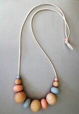 Fashion chunky Silicone & Wooden beaded, Peach Grey beads statement Necklace
