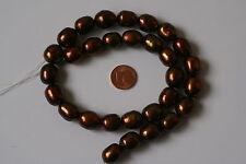 Zucht-Perlen-Strang(Oval, Goldbraun) I-0143/I