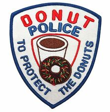 Novelty Donut Police To Protect The Donuts Embroidered Iron On Patch Applique