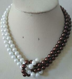 2 Rows 8mm White&Brown South Sea Shell Pearl necklace 18inch