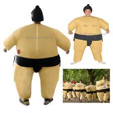 Sumo Wrestling Suit Adult Inflatable Fancy Dress Costume Men Party Built-in Fan