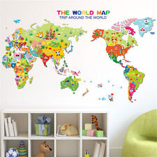 Animal Educational World Map Kids Nursery Wall Stickers Home Decor Removable Art