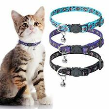 New listing Skull Cat Breakaway Collar with Bell - 3 Pack Adjustable Soft Kitten Puppy