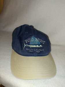 Men Vtg Polo Sport Marlin Hat Cap Sportsman Ralph Lauren Navy Blue Size O/S