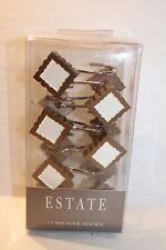 Estate Croscill Hempstead Brown & Ivory Square Shower Curtain Hooks NEW