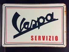 Vespa Servizio Metallo Segno/Vintage Garage Muro Decor SCOOTER BICI (30 x 20cm)