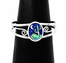 Mystical Blue Desert Night Cactus Stars Moon Silver Cuff Bracelet Taxco Mexico