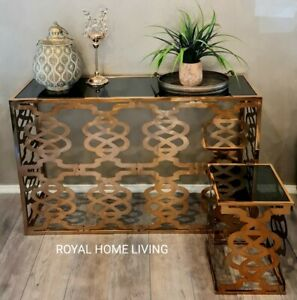 CONSOLE HALLWAY WITH 2 SIDE TABLES BRASS GOLD WITH BLACK GLASS LASER CUT DESIGN