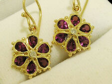 E036 Genuine 9ct Yellow Gold NATURAL Rhodolite Garnet & DIAMOND Daisy Earrings