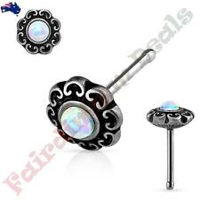 316L S Steel Antique Silver Nose Stud with White Opal Tribal Heart Filigree Top