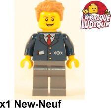 Lego Figura Minifig City Controlador Conductor Tren Corbata Traje Nuevo