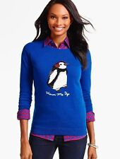 NWT $99 TALBOT'S MAJESTY BLUE INTARSIA TINSEL TRIM PENGUIN  SWEATER SIZE 2X