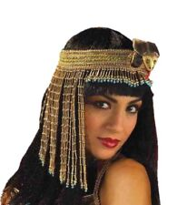 Cleopatra Gold Bead Hat Snake Asp Costume Beaded Headpiece Headband Egyptian Blu
