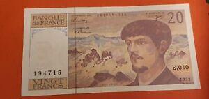 France billet 20 francs Debussy 1993 superbe