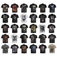 SPIRAL DIRECT SKULL ILLUSION Front Print T-Shirt//Biker//Sugar Skull//Tattoo//Top