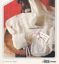 BABY JACKET,BONNET & SHAWL 4ply - birth to 12 months - COPY baby crochet pattern