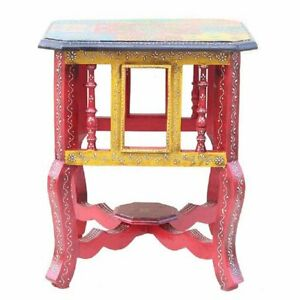 Wooden Handcrafted Handpainted Corner End Table Bedside Table for Home Decor
