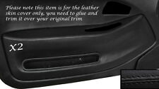 BLACK LEATHER 2X FRONT DOOR CARD TRIM SKIN COVERS FITS HONDA CIVIC COUPE 92-95