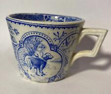 Antique  blue Staffordshire transfer ware Pearlwares Child's Mug boy w/dog