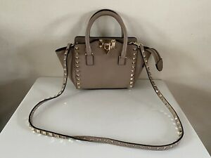 Auth Valentino Garavani Tan Leather Rockstud Mini Double Handle Tote Bag