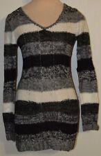 Women's Rue 21 Black Stripe Long Sleeve V-Neck Tunic Crochet Knit Sweater S - XL