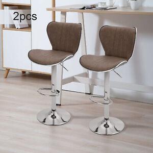 2pcs Bar Stools Faux Leather Kitchen Breakfast Barstools Dark Brown Lift Swivel