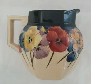 "Royal Doulton Pansies Art Deco Custard Cream Jug - D4049 Rare Large 5"""