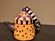 Mary Engelbreit Teapot Ornament Yellow Black Polka Dots