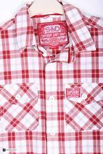 SuperDry Da Uomo Manica Lunga Vestibilità Regolare Camicia Casual Rosso Misura
