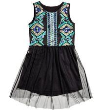 OA Tüll Kleid Gr.134 /140 H&M NEU m.E schwarz grün blau pailletten festlich kind
