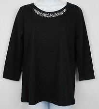 St Johns Bay Womens Top Black Size M S 3 4 Sleeve Embellished Neck Knit Shirt