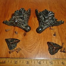 4 Standard Pequegnat Metal Feet with 8 Mounting Screws  - Antique Parts