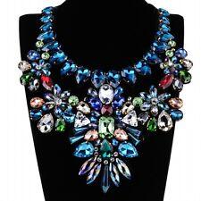 Luxury Beauty Jewelry Charm Black Fabric Crystal Bib Cluster Statement Necklace