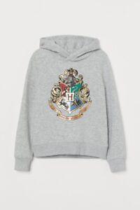 H&M Harry Potter Gray Grey Hooded Sweatshirt Size Kids 10-12 Years